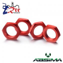 Tuercas para Hexágonos 4 unidades Aluminio 17mm Rojos