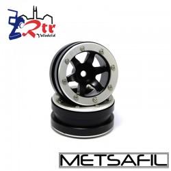 Llantas 1.9 beadlock Metsafil PT-Wave Negro/Plata (2 Unidades)