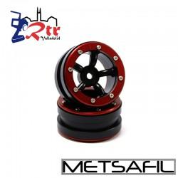 Llantas 1.9 beadlock Metsafil PT-Safari Negro/Rojo (2 Unidades)