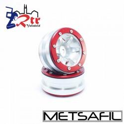 Llantas 1.9 beadlock Metsafil PT-Wave Plata/Rojo (2 Unidades)