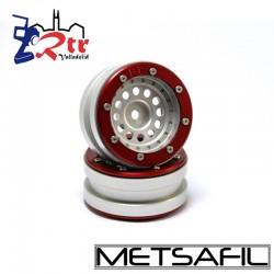 Llantas 1.9 aluminio Metsafil PT-Bullet Plata/Rojo (2 Unidades)
