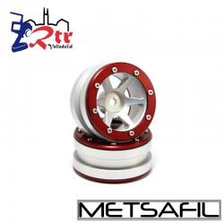 Llantas 1.9 beadlock Metsafil PT-Slingshot Plata/Rojo (2 Unidades)