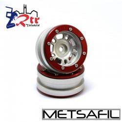 Llantas 1.9 beadlock Metsafil PT-Distractor Plata/Rojo (2 Unidades)