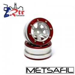 Llantas 1.9 beadlock Metsafil PT- Claw Plata/Rojo (2 Unidades)