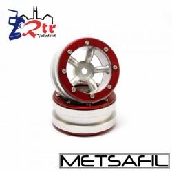 Llantas 1.9 beadlock Metsafil PT-Safari Plata/Rojo (2 Unidades)