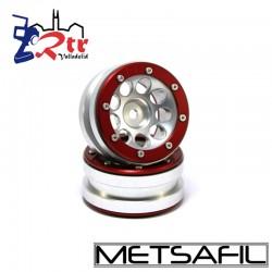 Llantas 1.9 beadlock Metsafil PT-Ecohole Plata/Rojo (2 Unidades)