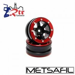 Llantas 1.9 beadlock Metsafil PT-Wave Negro/Rojo (2 Unidades)