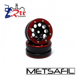 Llantas 1.9 beadlock Metsafil PT-Ecohole Negro/Rojo (2 Unidades)