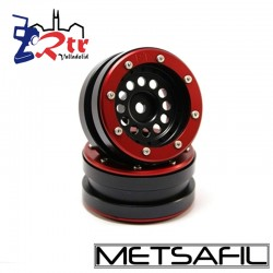 Llantas 1.9 beadlock Metsafil PT-Bullet Negro/Rojo (2 Unidades)