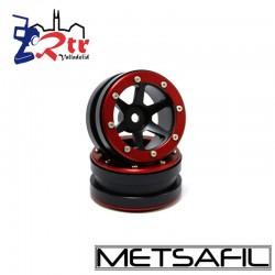 Llantas 1.9 aluminio Crawler beadlock Metsafil Negro/Rojo (2 Unidades)