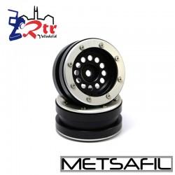Llantas 1.9 beadlock Metsafil PT-Bullet Negro/Plata (2 Unidades)