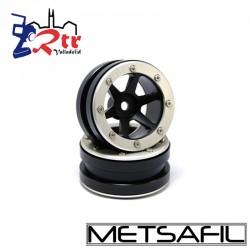 Llantas 1.9 beadlock Metsafil PT-Slingshot Negro/Plata (2 Unidades)