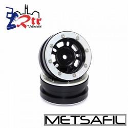 Llantas 1.9 beadlock Metsafil PT-Distractor Negro/Plata (2 Unidades)