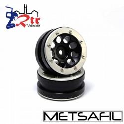 Llantas 1.9  beadlock Metsafil PT-Ecohole Negro/Plata (2 Unidades)