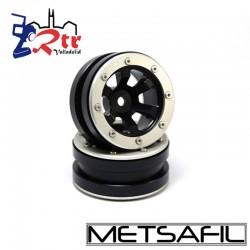 Llantas 1.9 beadlock Metsafil PT- Claw Negro/Plata (2 Unidades)