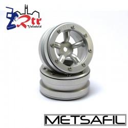 Llantas 1.9  beadlock Metsafil PT-Safari Plata/Plata (2 Unidades)