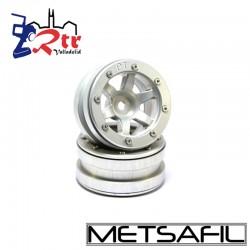 Llantas 1.9 beadlock Metsafil PT-Wave Plata/Plata (2 Unidades)