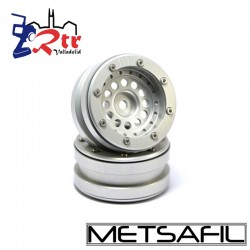 Llantas 1.9 beadlock Metsafil PT-Bullet Plata/Plata (2 Unidades)