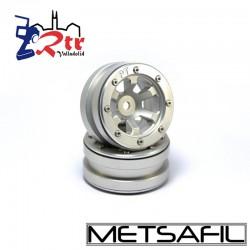Llantas 1.9 beadlock Metsafil PT- Claw Plata/Plata (2 Unidades)