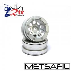 Llantas 1.9 beadlock Metsafil PT-EcoholePlata/Plata (2 Unidades)