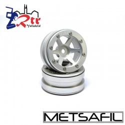 Llantas 1.9  beadlock Metsafil PT-Slingshot Plata/Plata (2 Unidades)