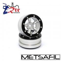 Llantas 1.9 beadlock Metsafil PT-Safari Plata/Negro (2 Unidades)