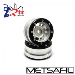 Llantas 1.9 beadlock Metsafil PT-Distractor Plata/Negro (2 Unidades)