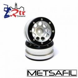 Llantas 1.9 beadlock Metsafil PT-Ecohole Plata/Negro (2 Unidades)
