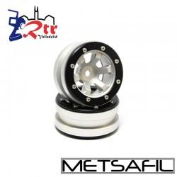 Llantas 1.9 beadlock Metsafil PT- Claw Plata/Negro (2 Unidades)