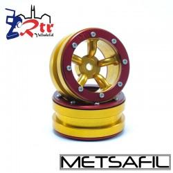 Llantas 1.9 beadlock Metsafil PT-Safari Oro/Rojo (2 Unidades)