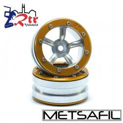 Llantas 1.9 beadlock Metsafil PT-Safari Plata/Oro (2 Unidades)