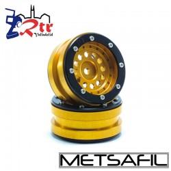 Llantas 1.9 beadlock Metsafil PT-Bullet Oro/Negro (2 Unidades)