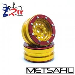 Llantas 1.9 beadlock Metsafil PT-Bullet Oro/Rojo (2 Unidades)