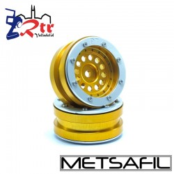 Llantas 1.9 beadlock Metsafil PT-Bullet Oro/Plata (2 Unidades)
