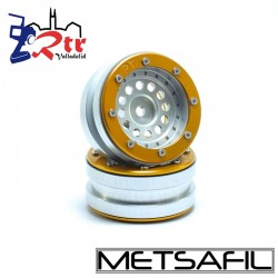 Llantas 1.9 beadlock Metsafil PT-Bullet Plata/Oro (2 Unidades)