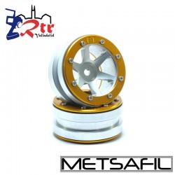 Llantas 1.9 beadlock Metsafil PT-Slingshot Plata/Oro (2 Unidades)