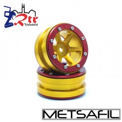 Llantas 1.9 beadlock Metsafil PT-Slingshot Oro/Rojo (2 Unidades)