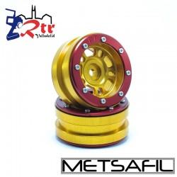 Llantas 1.9 beadlock Metsafil PT-Distractor Oro/Rojo (2 Unidades)