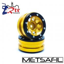 Llantas 1.9 beadlock Metsafil PT-Ecohole Oro/Negro (2 Unidades)