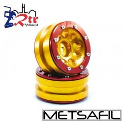 Llantas 1.9 beadlock Metsafil PT-Ecohole Oro/Rojo (2 Unidades)