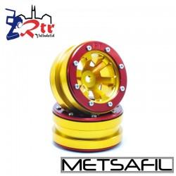 Llantas 1.9 beadlock Metsafil PT-Claw Oro/Rojo (2 Unidades)