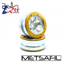 Llantas 1.9 beadlock Metsafil PT-Claw Plata/Oro (2 Unidades)
