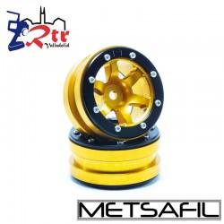 Llantas 1.9 beadlock Metsafil PT-Wave Oro/Negro (2 Unidades)