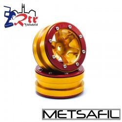 Llantas 1.9 beadlock Metsafil PT-Wave Oro/Rojo (2 Unidades)