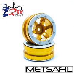 Llantas 1.9 beadlock Metsafil PT-Wave Oro/Plata (2 Unidades)