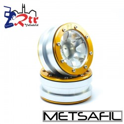 Llantas 1.9 beadlock Metsafil PT-Wave Plata/Oro (2 Unidades)