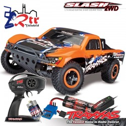 Traxxas Slash 2wd Short Course Escobillas Bat+Carg Anaranjado