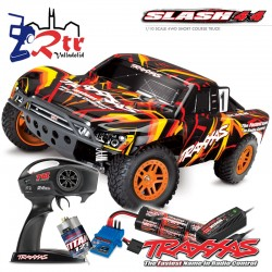 Traxxas Slash 4X4 Short Course Escobillas Bat+Carg Anaranjado