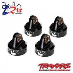 Tapones de choque, aluminio anodizado negro, Fox Shocks 4 Und Traxxas TRA8456