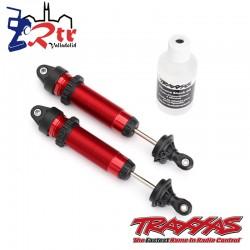 Amortiguadores GTR 134mm aluminio Rojo roscado Traxxas TRA8450R